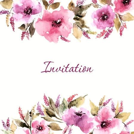 flower: Birthday floral card. Wedding invitation. Floral background. Watercolor floral bouquet. Floral decorative frame.