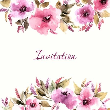 borde de flores: Tarjeta de cumplea�os floral. Invitaci�n de la boda. Fondo floral. Acuarela ramo floral. Marco decorativo floral.
