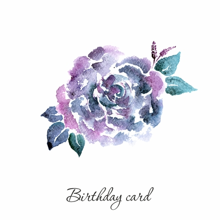 Lilac flower. Watercolor birthday card with rose. Floral decorative element.