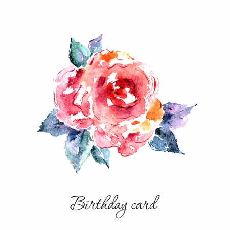 transparently: Rose. Watercolor card with rose. Birthday card with single flower. Illustration