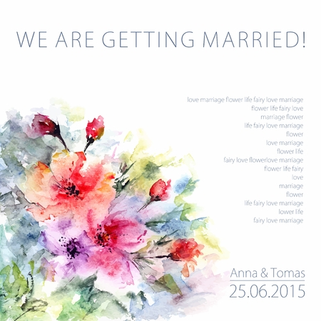 Invitation. Wedding or birthday card. Floral frame. Watercolor background with flowers. 版權商用圖片 - 36152506
