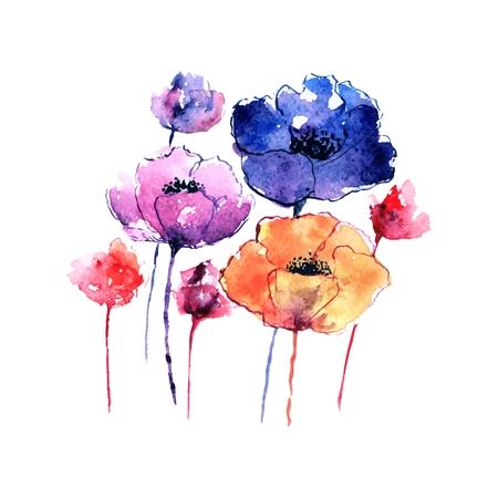 양 귀 비입니다. 인사말 카드입니다. 수채화 꽃 꽃다발입니다. 꽃 생일 카드.