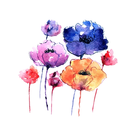 Poppies. Greeting card. Watercolor floral bouquet. Floral birthday card.