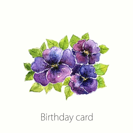 transparently: Viola. Watercolor floral background. Floral birthday card. Floral bouquet. Illustration