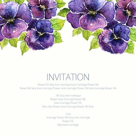 viola: Viola. Watercolor floral background. Floral birthday card. Floral bouquet. Illustration