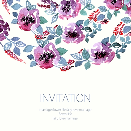 Invitation. Wedding or birthday card. Floral frame. Watercolor background with flowers.