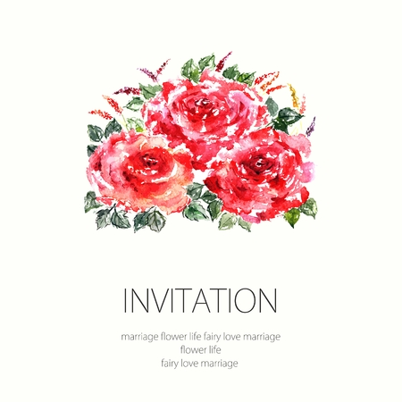 transparently: Red roses. Watercolor floral decoration. Floral bouquet. Floral background. Birthday card.