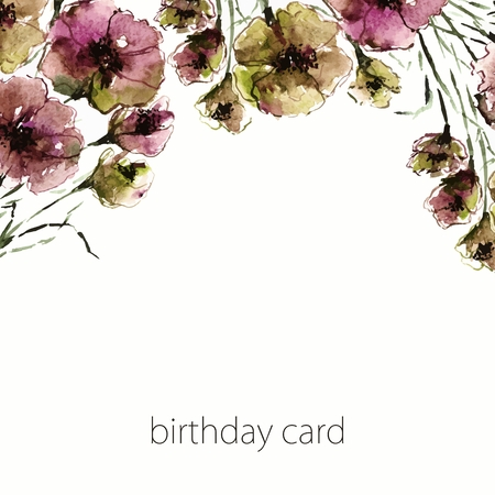 transparently: Floral birthday card. Watercolor old flowers. Invitation. Illustration