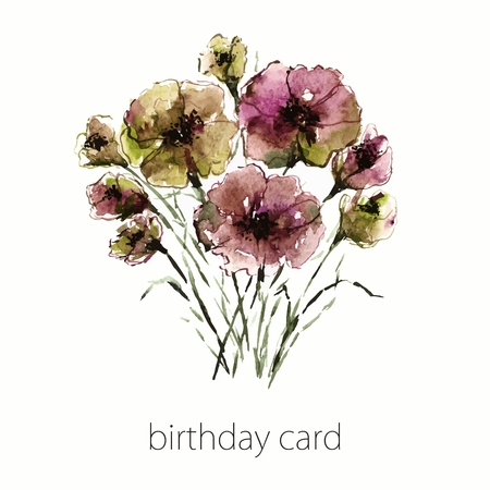 transparently: Watercolor floral bouquet. Floral birthday card.