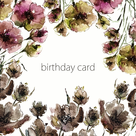 dry flowers: Floral birthday card. Watercolor old flowers. Invitation. Illustration