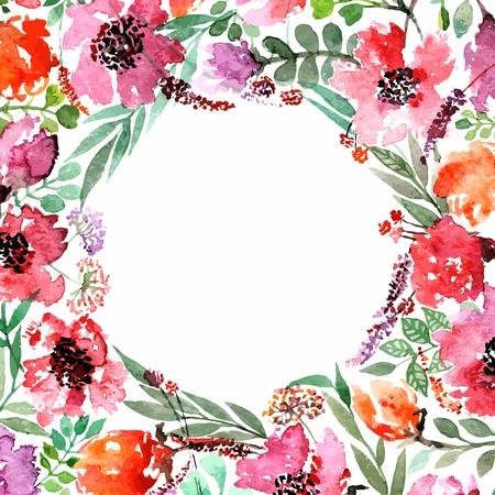 flores de cumpleaños: Invitación. Boda o tarjeta de cumpleaños. Marco floral. Fondo de la acuarela con las flores.