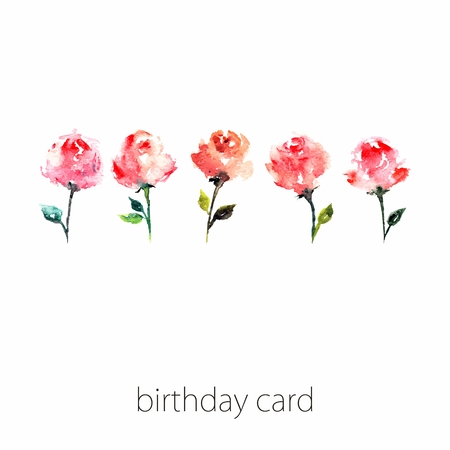 transparently: Birthday card with roses. Floral vintage background. Watercolor floral invitation.