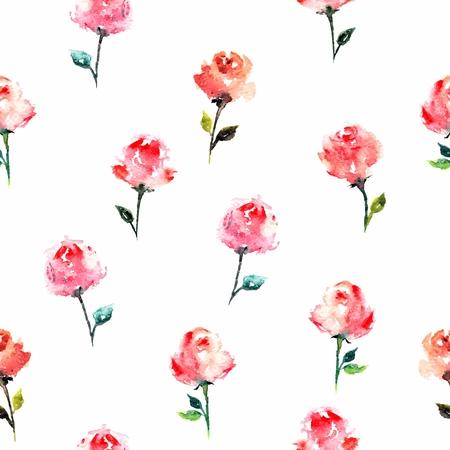장미와 원활한 꽃 배경입니다. 인사말 카드. 수채화 플로랄 패턴입니다. 패브릭 템플릿.