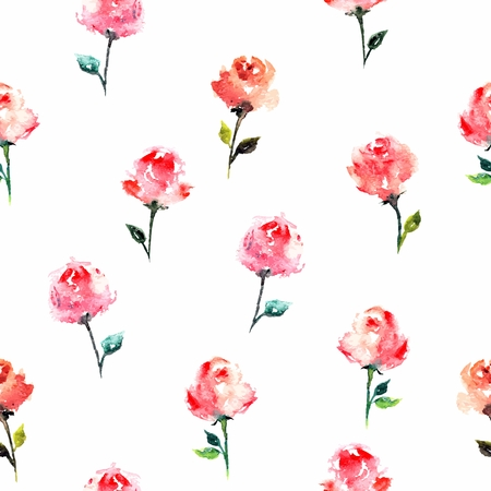 Seamless floral background with roses. Greeting card. Watercolor floral pattern. Fabric template.