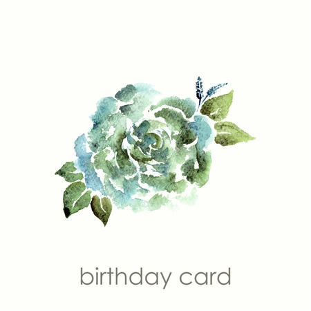 transparently: Vintage flower. Watercolor birthday card with rose. Floral decorative element.