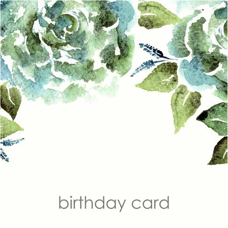 Floral background. Aquarelle bouquet floral. Carte d'anniversaire. Cadre décoratif floral. Banque d'images - 36152162