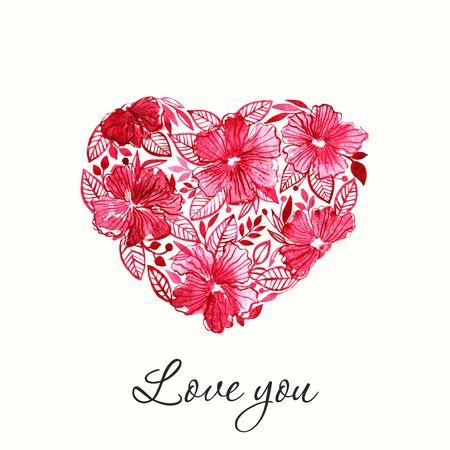 gouache: Romantic heart. Valentine greeting card. Floral heart. Illustration