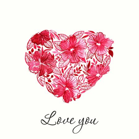 Romantic heart. Valentine greeting card. Floral heart. Illustration