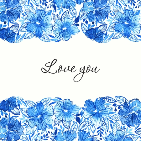 gently blue: Floral background. Watercolor floral bouquet. Birthday card. Floral decorative frame. Illustration
