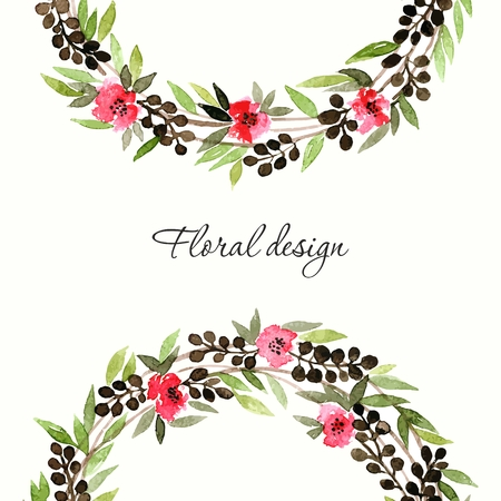 transparently: Floral wreath. Invitation. Wedding or birthday card. Floral frame. Watercolor background with flowers.