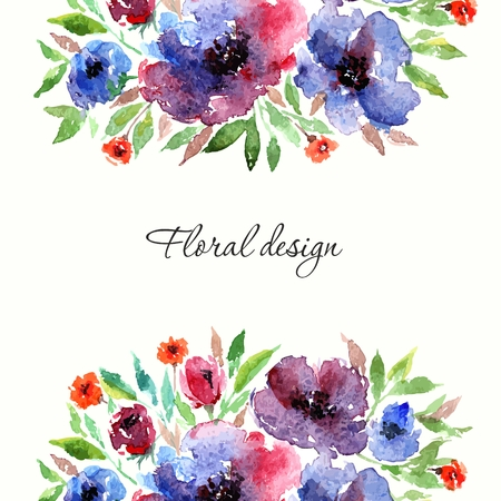Birthday floral card. Floral background. Watercolor floral bouquet. Floral decorative frame.