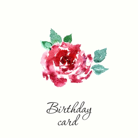 Flower. Watercolor birthday card with rose. Floral decorative element.