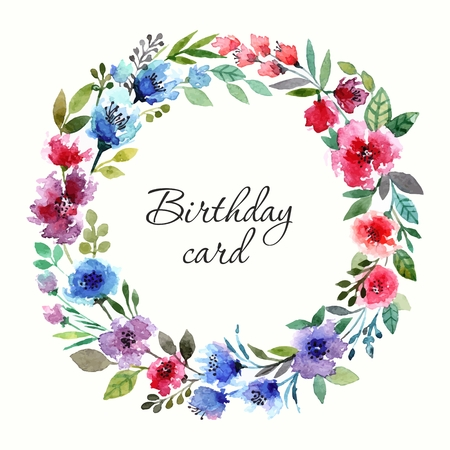 transparently: Invitation. Wedding or birthday card. Floral frame. Watercolor background with flowers.