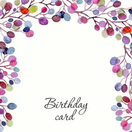 Invitation de mariage ou carte d'anniversaire. Floral frame. fond d'aquarelle avec des fleurs. Banque d'images - 36152295
