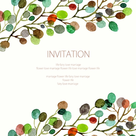 Wedding invitation or birthday card. Floral frame. Watercolor background with flowers.