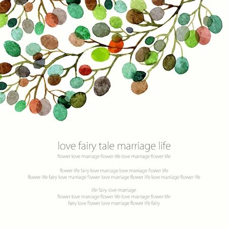 silhouette fleur: invitation de mariage ou carte d'anniversaire. Floral frame. fond d'aquarelle avec des fleurs.