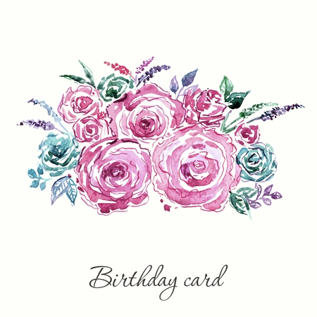 Roses bouquet. Watercolor flowers. Birthday card. Illustration