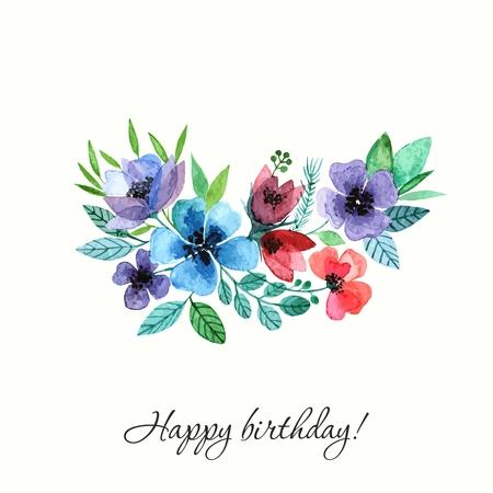 꽃. 수채화 생일 카드.