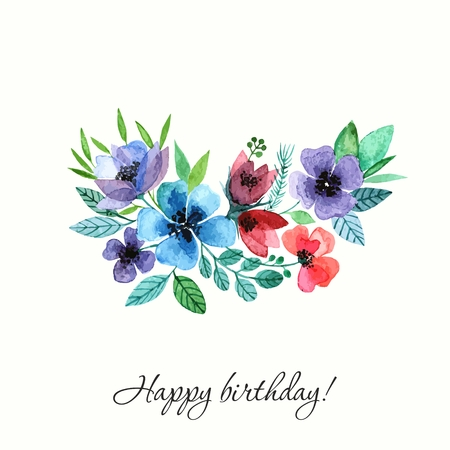 Flowers. Watercolor birthday card.