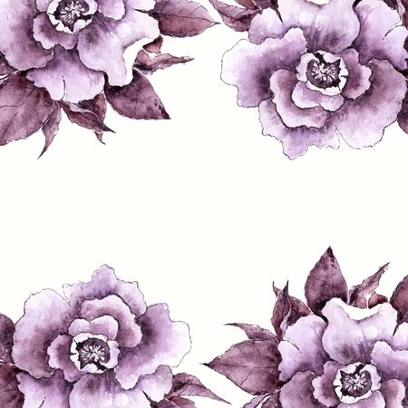 transparently: Vintage card. Floral decorative frame. Watercolor flowers.