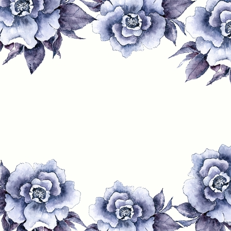 Vintage card. Floral decorative frame. Watercolor flowers.