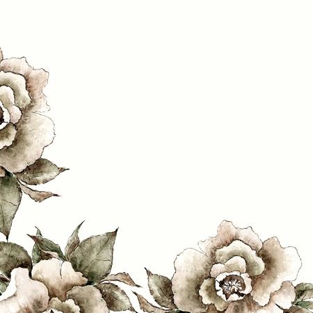 picture frame: Vintage card. Floral decorative frame. Watercolor flowers.