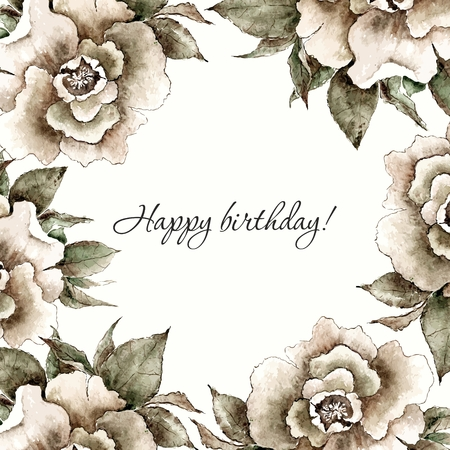 flowers bouquet: Vintage card. Floral decorative frame. Watercolor flowers.
