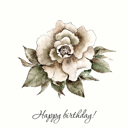 vintage rose: Vintage rose. Watercolor flower. Hand drawn flower.