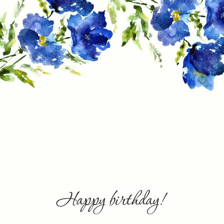 postcard: Blue floral background. Watercolor flowers. Birthday or wedding design.