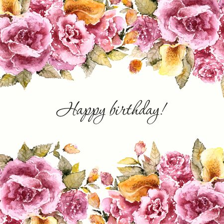 Roses bouquet. Floral vintage background. Watercolor floral invitation. Birthday card.