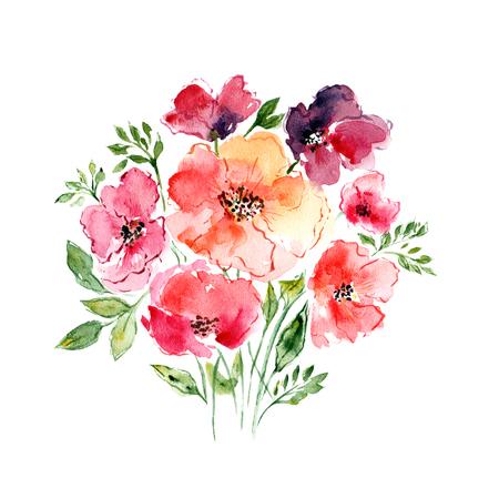 violeta: Acuarela ramo floral. Fondo floral. Tarjeta de cumplea�os.