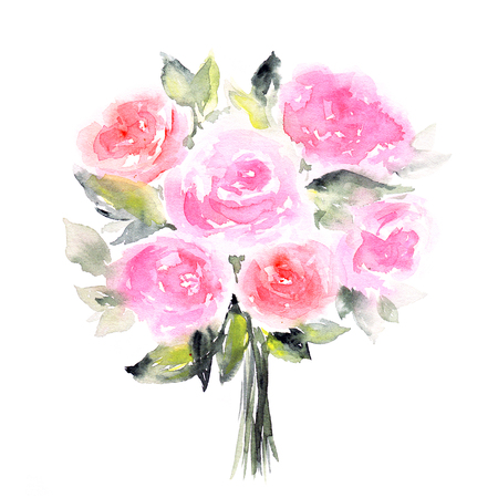 transparently: Roses. Watercolor floral card. Birthday card with roses bouquet. Stock Photo