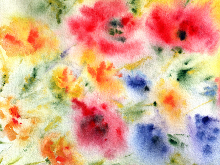 transparently: Watercolor floral greeting card. Floral background. Birthday card. Stock Photo