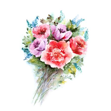 ramo de flores: Acuarela ramo floral. Fondo floral. Tarjeta de cumpleaños.