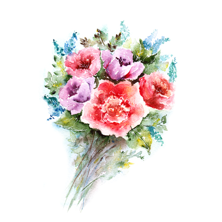 violet flowers: Watercolor floral bouquet. Floral background. Birthday card.