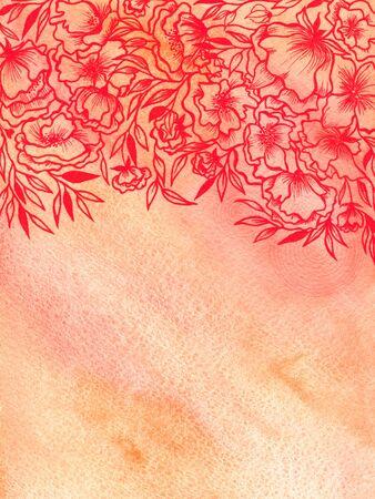 transparently: Vintage floral background. Watercolor roses pattern.