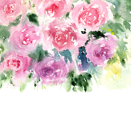 transparently: Rose bouquet. Watercolor flowers. Greeting card. Stock Photo