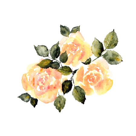 transparently: Yellow roses. Watercolor floral card. Birthday card with roses bouquet.