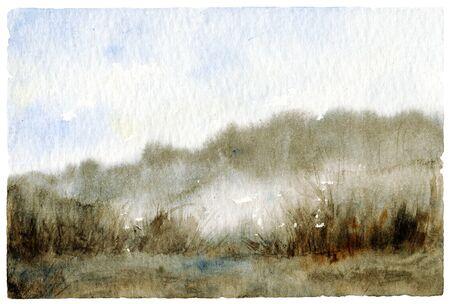 paesaggio Acquerello con la foresta nebbiosa.