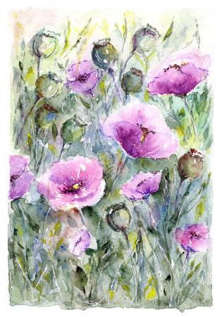 수채화 꽃 꽃다발입니다. 꽃 배경입니다. 생일 카드.